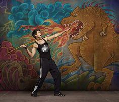Photographic art and chalk illustration with tyrannosaurus rex