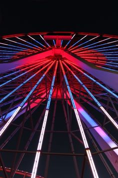 Holidays Photography #red #santa #lights #pier #night #wheel #spokes #ferris #blue #monica
