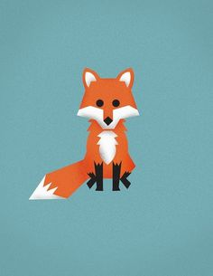 More Illustrations on the Behance Network #fox #orange #illustration #animal #teal