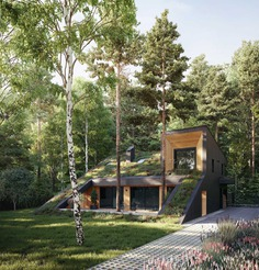 Light wood accents complement the surrounding nature, and at the same time provide a contrasting element to the dark wood siding featured on the rest of the home.
