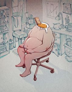 Illustration by Marija Tiurina #obese #egg #chair #yolk #illustration #toast #surreal #headless