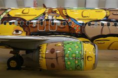 Osgemeos airplane graffiti #osgemeos #airplane #graffiti