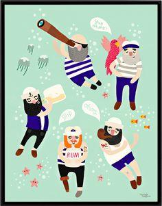 #nordic #design #graphic #illustration #danish #simple #nordicliving #living #interior #kids #room #poster #sailors #beard #maritime #sea