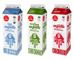 Swedish design studio United Power designed the new Milko Milk cartons. The inspiration comes from Swedish folk art. #folk #packaging #swedish #art #milk #milko