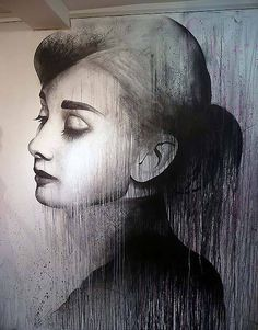 Audrey Hepburn wall mural by Ben Slow - Detail #hepburn #mural #wall #audrey #slow #ben