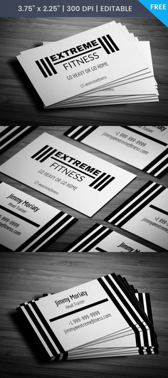 Free Sleek Fitness Business Card #template #fitnss #card