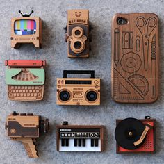 brainbow wooden jewellery #keyboard #camera #jewellery #wood #jewelry #brooch #necklace #music #tv #typewriter