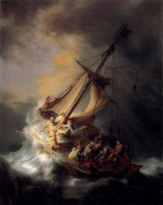 "Rembrandt with famous painting ""Christ in the Storm on the Lake of Galilee"" #oil #painting #paintings"