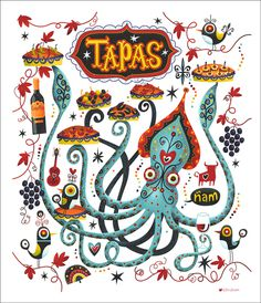 Tapas Trail on Behance #mexico #food #sea #squid #fun