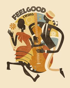 Feel Good Swing Dance School #poster #vintage #swing #lindy hop #illustration #michele tenaglia
