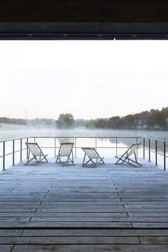 Wooden deck on lake. Conference room at Moulin de la Forge by Bernard Desmoulin. © Célia Uhalde. #deck #woodendeck