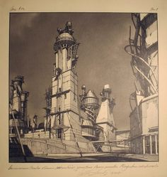 Architecture Photography: Lebbeus Woods: Early Drawings on Exhibit in NYC Centricity - Quad GA Square with Geodynamic Towers / Lebbeus Woods – ArchD #woods #architecture #lebbeus