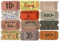 24pcs VINTAGE ADMISSION TICKETS 1930s 60s Carnival Theater Show