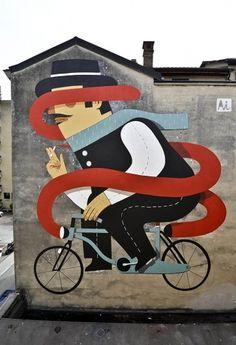 BLDGWLF #smoke #bicycle #mural #mustache #illustration