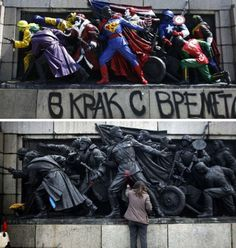 'Banksy of Bulgaria' Transforms Red Army Soldiers Into Superheroes - PSFK #graffiti