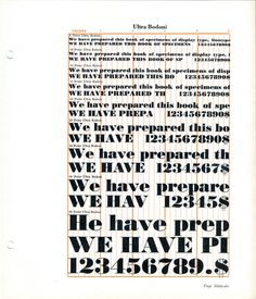 One can learn a lot about designing optical font sizes from a type specimen like this example of Ultra Bodoni.
