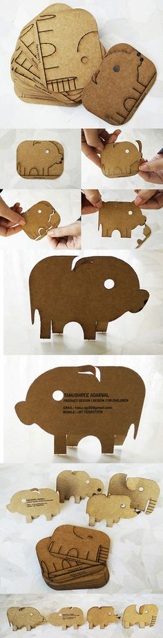 Sweet Interactive Laser Cut Animal Shaped Business Cards