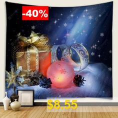 Christmas #3D #Digital #Art #Wall #Decoration #Creative #Home #Printing #Cloth #Hanging #Tapestry #Cloth #Background #- #BLUEBERRY #BLUE
