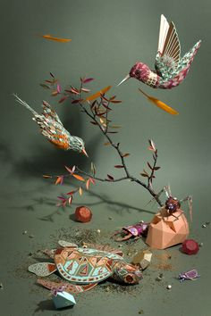 Cabinet de Curiosités on Behance #origami #collage #paper