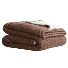 Cable Sherpa Knit Throw Taupe 125cm x 150cm