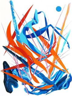 Entwine #art #abstract #blue #artwork #painting #orange #shapes #lines #streetart