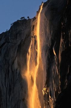 From Waterfall To Lavafall: Yosemite's Fleeting Phenomenon : The Picture Show : NPR #yellow #water #waterfall