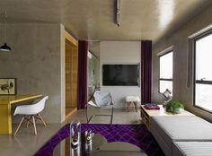 Loft Interior Design in Beige and Purple - #decor, #interior, #homedecor, home decor, interior design