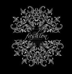 Black And White Fashion Leaves Ornate Quad Stock Photo