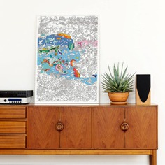It's coloring madness with the Giant Coloring Poster! Measuring at 28 x 40 inches unfolded, there's plenty of space to color alone or with family and friends. You can use the finished work as a table cloth, wallpaper, or art display too. Made and designed in France.