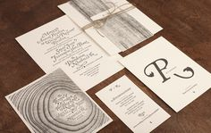 Perky Richter #white #invitation #print #letterpress #black #wood #and #typography