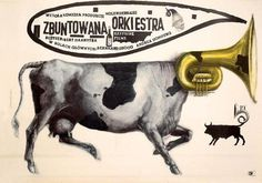 Rick Poynor: Starowieyski's Graphic Universe of Excess: Observers Room: Design Observer #trumpet #design #cows #illustration #music
