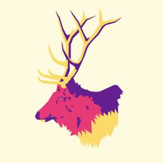 Animal Head by David Wilson #wilson #color #elk #illustration #art #david #animal