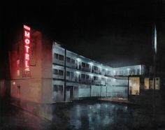 "Surf Motel, 40"" X 60"", oil on canvas, Kim Cogan #night #motel #painting #oil"