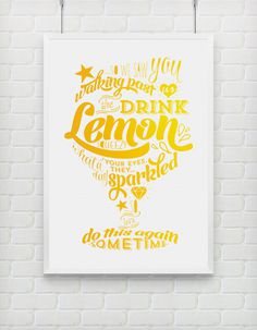 Lemon Squeezy print #print #yellow #typography