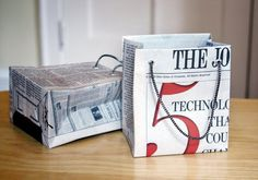 Newspaper Gift Bag Tutorial #gift #bag #newspaper #shopping