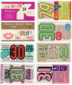photo #typography #vintage #1930 #bus tickets