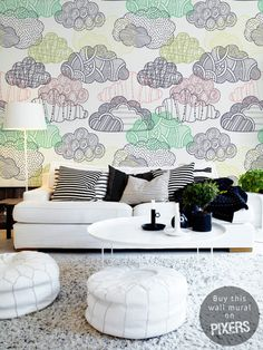 Clouds #interior #clouds #white #mural #design #living #decor #home #wall #architecture #room