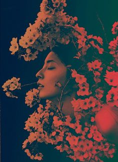 ©Sayaka Maruyama Sakura. Fotografía | Photography #girl #photography #photo #manipulation #portrait #woman #profile #flowers