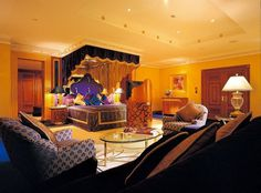 Abstract painting in luxury bedroom