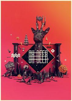 Digital Art inspiration #deer #design #digital #art #3d
