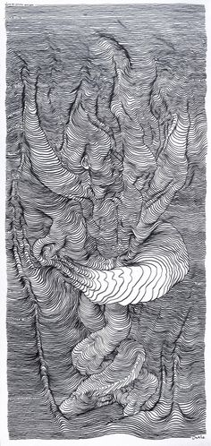 Scroll Drawings by Carl Krull #scroll #ink #white #lines #swirl #contortion #design #black #illustration #figure #distortion #art #and #sketch