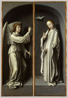 Gerard David: Christ Carrying the Cross, with the Crucifixion; The Resurrection, with the Pilgrims of Emmaus (triptych wings) and Archangel