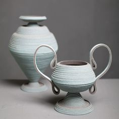 Between Two Rivers felt vessels by Siba Sahabi #vases #felt #greek