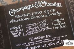 Champagne and Chocolate is right around the corner! | Drip Drop Creative Websites #invitation #design #chalk #typography