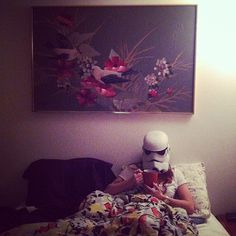 Photo by ilovetoxicwaste #girl #in #hipster #wars #bed #painting #star