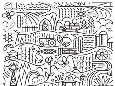 farm theme line illustration #pattern #illustration #line