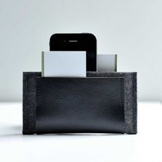 New Iphone Wallet Graphite Grey Wool with Black by byrdandbelle