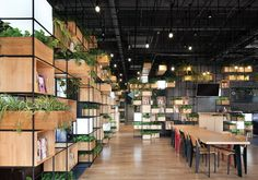 recycled steel bars form modular café interior by penda in beijing #stacks