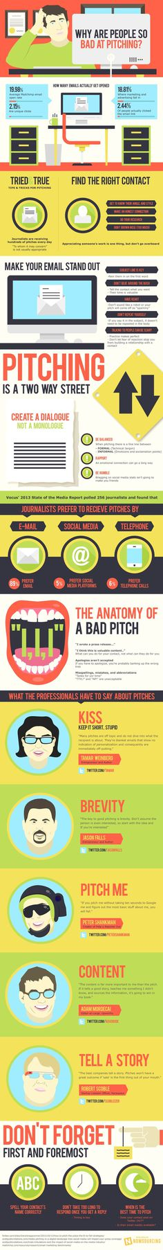 Why are people so bad at pitching to the media? Learn how to improve your pitching game from this infographic. #media #pitching #marketing #the