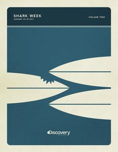 Minimal Poster Design - Shark Week on the Behance Network #sharks #posters #colors #vintage